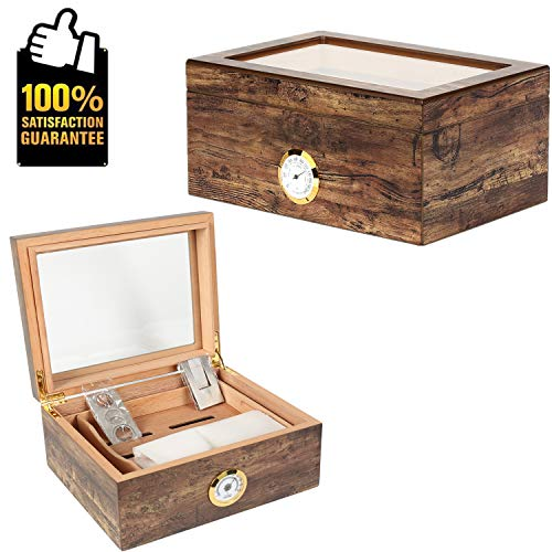Lined Cigar Humidor - COMMODA Desktop Cigar Humidor Tempered Glasstop Front Mounted Hygrometer Humidifier Cedar Lined Storage Box Spanish Cedar Tray Divider Holds 20-50 Cigars Free Cutter Rack