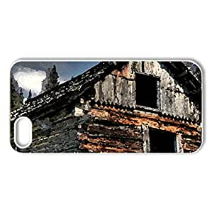abandoned log cabin on a mountainside - Case Cover for iPhone 5 and 5S (Houses Series, Watercolor style, White)