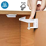10 Pack Child Safety Cupboard Locks, Baby Safety Proof Kit Cupboard Latches Set No Drill, Tools or Screws, Easy to Install with Strong 3M Adhesive, for Drawers, Cabinet, Door, Fridge, Closets. (White)
