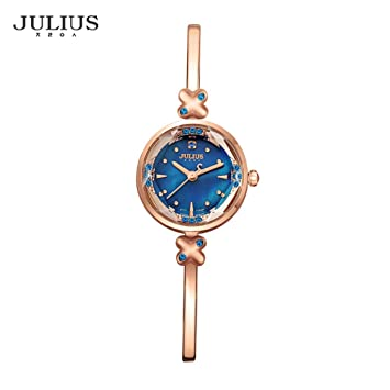 f164a67ebe6 Amazon.com   JULIUS Luxury Women Lady Wrist Watch Fashion Slim Design  Rhinestone Shell Bracelet Chain Watch Business School Girl Gift   Beauty
