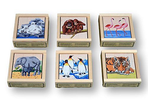 (Atelier Fischer Wooden Block Cube Puzzle in Wooden Case - Zoo Animals (9 Pieces))