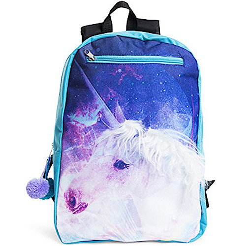 Metropack Magical Unicorn With Faux Hair Mane Animal Print Backpack 17in -