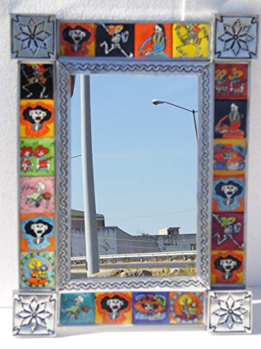 PUNCHED TIN MIRROR with day of the dead talavera tile mexican folk art 16