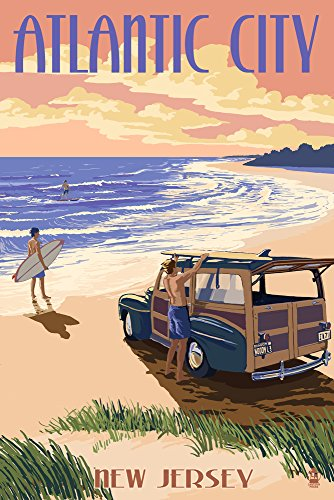 Atlantic City, New Jersey - Woody On The Beach (12x18 Art Print, Wall Decor Travel Poster) ()