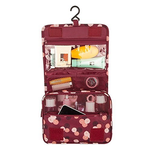 American Trends Portable Toiletry Kit Makeup Bag Organizer with Hanging Hook Wine Red Daisy Print