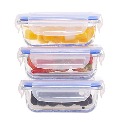 Mini Glass Baby Food Containers 6.1oz, 0.76 Cup – 3pc Glass Lunch Box with BPA Free Lid, Rectangular Food Storage Containers Microwave, Freezer, Oven & Dishwasher Safe by coccot