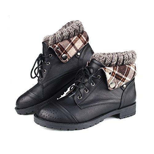 Sibba Schnürstiefeletten Kurzschaft Stiefel mit Strickband für Damen Winter Schwarz