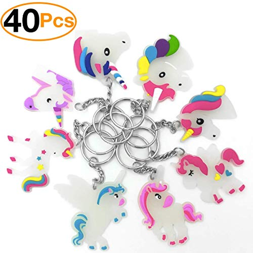Monqiqi Pack of 40 Unicorn Charms Glowing Unicorn Keychains for Birthday Party -