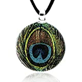 Hand Blown Venetian Murano Glass Glitter Green Peacock Feather Round Pendant Necklace, 17-19 inches