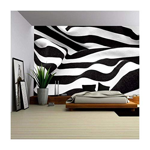 - wall26 - Black and White Fabric Creates a Swirl or Zebra Effect - Removable Wall Mural | Self-Adhesive Large Wallpaper - 100x144 inches