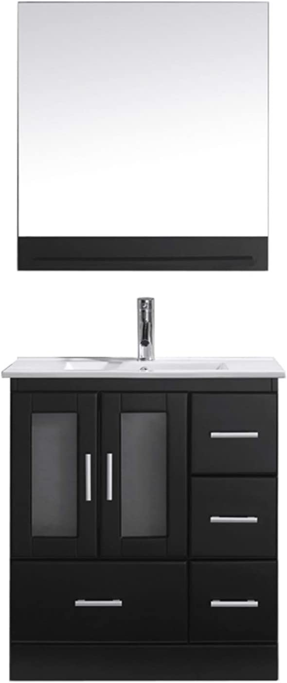 Virtu Usa Ms 6730 C Es 001 Zola 30 Single Bathroom Vanity White Ceramic Top And Square Sink With Brushed Nickel Faucet And Mirror 30 Inches Dark Espresso