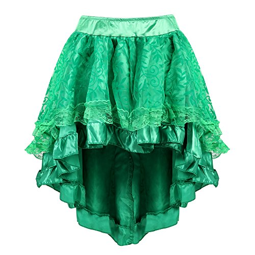 Womens Steampunk Corset Skirt Victorian Lace Trim Multi Layered High Low Dress Green S-M -