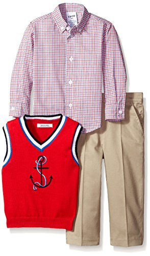 3 Piece Sweater Vest Pants - IZOD Little Boys' Toddler 3 Piece Novelty Woven Sweater Vest Pant Set, Red, 2T