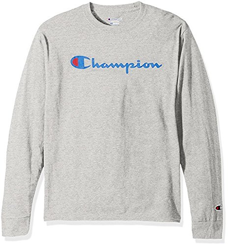 - Champion Men's Classic Jersey Long Sleeve Script T-Shirt, Light Steel, Lg