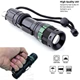 HIWILL 800 Lumen Cree Led Torch Super Bright - Pocket Adjustable Focus LED Flashlights - Zoomable Q5 Water Resistant Camping Torch for 3xAAA or 1x18650