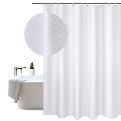 White Fabric Shower Curtain 86 Inches Long Waffle Weave Heavy Duty Mildew Resistant Extra