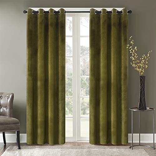 Roslyn Blackout Soft Luxury Velvet Retro Green Curtains Panel