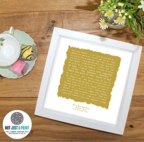 Framed Together (Al Green 'Let's Stay Together' Personalised Framed Song Lyrics Print Wedding Anniversary Gift)