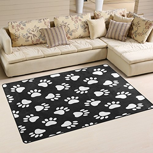 WOZO Cat Dog Paw Print Area Rug Rugs Non-Slip Floor Mat Doormats Living Room Bedroom 31 x 20 inches (Paw Rug Print)