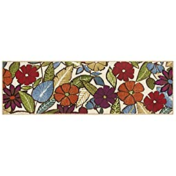 Modern Living Flowers Decorative Area Accent Rug, 20 by 60-Inch