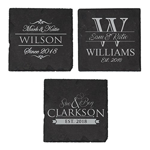 Wedding Personalized Wedding Coasters - Custom Engraved Slate Coasters Square Set of 4 - Personalized Housewarming Wedding Gift for Couples