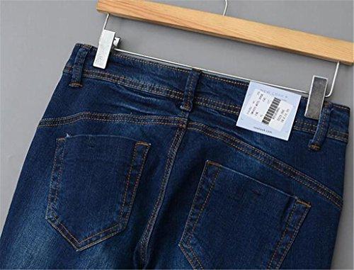 Wgwioo Damen Jeans Dünn Zerrissenen Distressed Hose Slim Jeans Reißverschluss Langen Tastendruck Lose Solid Color Casual Deep
