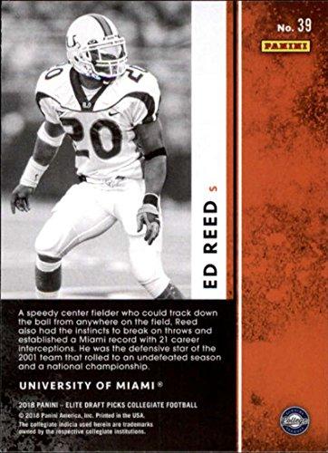 2018 Panini Elite Draft Picks #39 Ed Reed Miami Hurricanes Football Card
