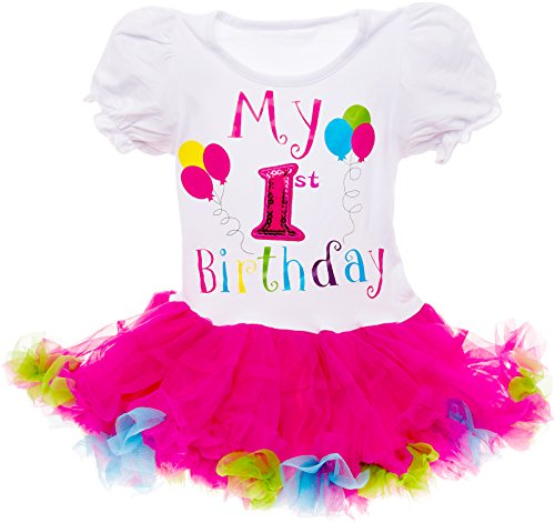 Silver Lilly Baby Girls Birthday Outfit - Its My Birthday Printed Tutu Dress for Toddlers (Multi Color, 1 Year Old)]()
