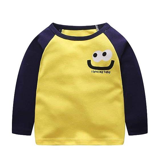 YanHoo Ropa para niños Camiseta de Manga Larga para niños, niñas y niñas Niño pequeño Infantil Niños Bebés Niños Chicas Letra de Dibujos Animados Tops ...