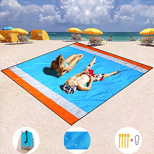 Mumu Sugar Sand Free Beach Mat, Quick Drying Portable Compact Lightweight Beach Mat - Water/Heat Resistant-Sand Proof Outdoor Beach Blanket for Travel, Camping, Hiking and Music Festivals (82''×79'') ()