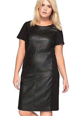 Castaluna Women\'s Plus Size Faux Leather Ponte Dress