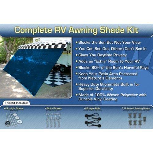 RV Awning Shade Kit RV Shade Complete Kit 8×20 Blue