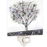 J Devlin NTL 159 Series Fused Stained Glass Tree Night Light (Purple)