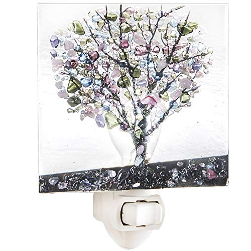 J Devlin NTL 159-2 Fused Glass Tree Night Light Green Purple Blue Stained Glass Decorative Accent Lite (Art Glass Night Light)
