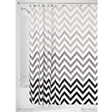 iDesign Fabric Chevron Shower Curtain for Master, Guest, Kids', College Dorm Bathroom, 72' x 72', Gray Ombre