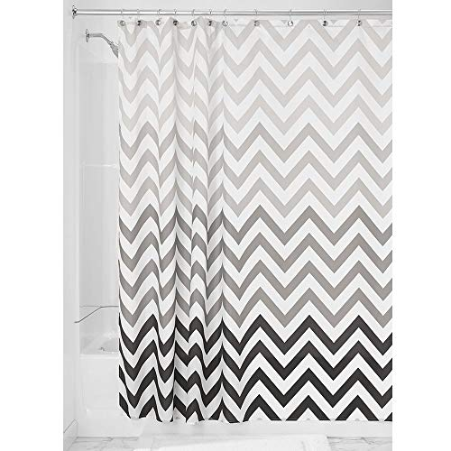 iDesign Fabric Chevron Shower Curtain for Master, Guest, Kids', College Dorm Bathroom, 72