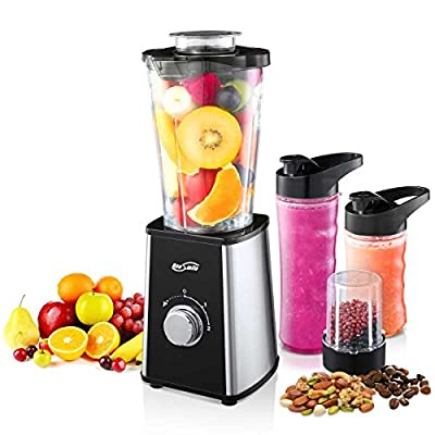 Housmile Smoothie Blender, 7-Piece Professional Countertop Blenders with 300 Watts Base, Higher-Speed Blender System for Shakes and Ice with 4 Pitchers & Travel Lid, BPA Free