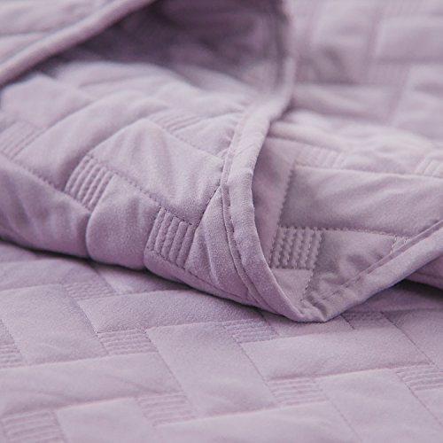 Lavender Bedding Quilt Set King Size 106x96Purple Basketweave good Coverlet stream-lined Microfiber Simone by Bedsure