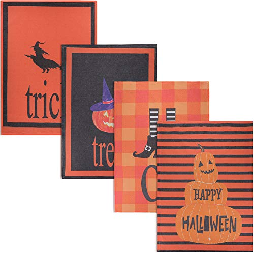 Halloween Dish Towels (Boao 4 Pieces Halloween Kitchen Dish Towels Halloween Elements Dishcloths Kitchen Cleaning Towels for Home or Festival Party Decoration, 28 x 20)