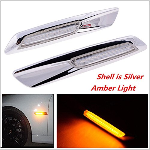Jinfili Silver Smoke Amber Side Marker Turn Signal Light bulb for BMW 3 Series E90 E91 E92 E93 (Silver) ()
