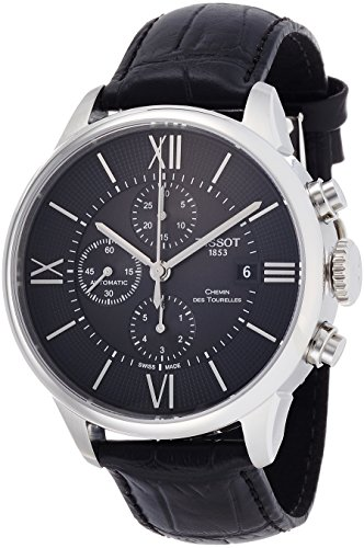 Tissot Men's 'T-Classic' Swiss Automatic Stainless Steel and Leather Casual Watch, Color Black (Model: T0994271605800)