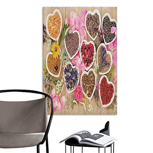 Camerofn 3D Murals Stickers Wall Decals Floral Healing Herbs Heart Shaped Bowls Flower Petals on Wooden Planks Print Healthcare Multicolor Corridor Walkway Wall W8 x H10