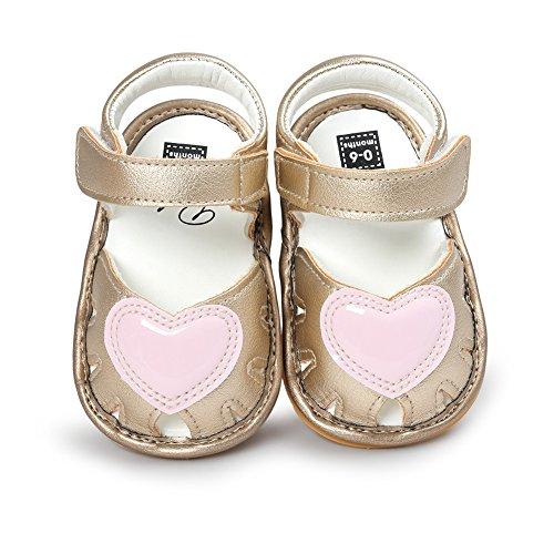 Sandalías de bebé Sandía agradabel para nenas Zapatos en verano para bebé Suela suave y antideslizantes Dorado