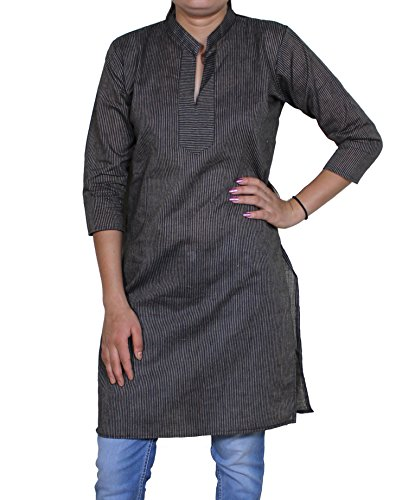 Womens Casual Loose Fit Stripe Indian Tunic Top Blouse T-shirt India Clothes -L
