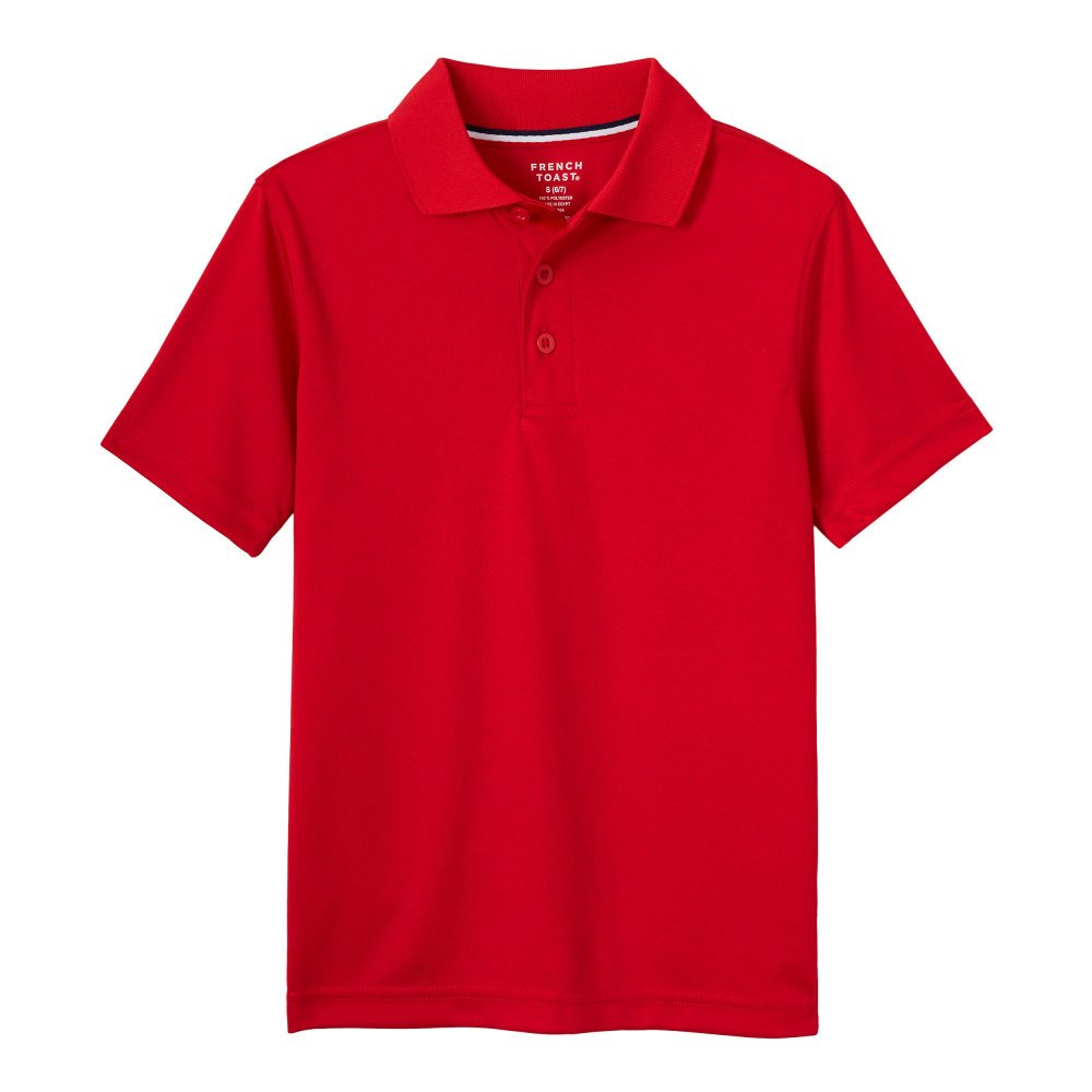 French Toast Boys' Big Short Sleeve Stretch Sport Polo, red, M (8) by French Toast (Image #1)