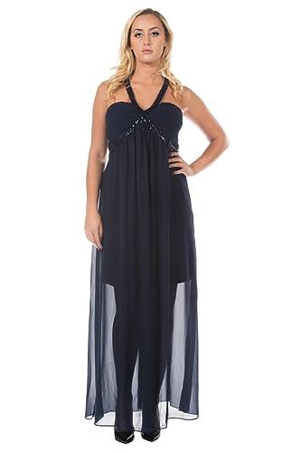 Women's Midnight Dark Blue Sequined Empire Waist Formal Goddess Gown Long Dress