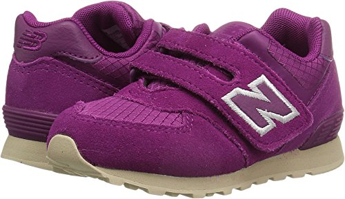 New Balance Girls' 574v1 Hook and Loop Sneaker, Purple/Tan, 5.5 M US Toddler