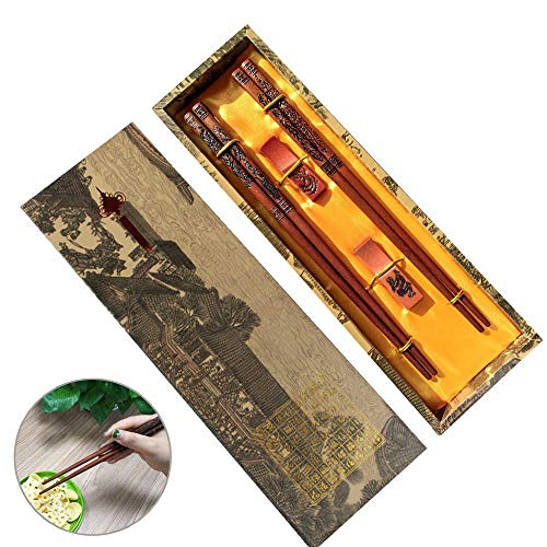 Chopsticks Set with Unique Package, MHKBD Reusable Wood Chopsticks with Engraved Dragon and Phoenix Chinese Chopsticks with Cool Case Rests Holder Bag, Great Gift for Halloween and Thanksgiving ()