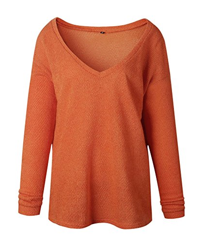 donne Maglione Collo Maglia Casual V a Orange Pullover Allentato ZhuiKun Le A5wqSz