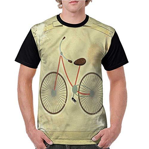 Mens Short Sleeve T-Shirt,Vintage,Postcard of Retro Bike S-XXL Baseball Print Casual O-Neck - Postcard Bacon